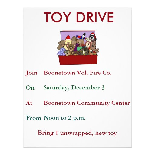 Toy Drive Flyer Template : Toy drive template flyer zazzle