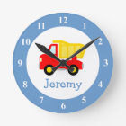 Toy dump truck wall clock for kids bedroom nursery