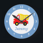 """Toy dump truck wall clock for kids bedroom nursery<br><div class=""""desc"""">Toy dump truck wall clock for kids bedroom or baby nursery. Personalized wallclock with custom name of child. Cute baby shower or 1st Birthday gift idea for little boys room. Red dumptruck construction vehicle decoration with personalizable name or monogram. Home decor for childrens room wall. Make your own unique present...</div>"""
