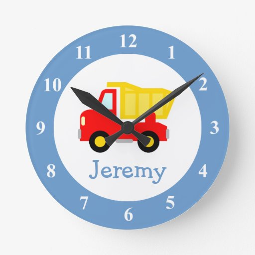 Toy dump truck wall clock for kids bedroom nursery zazzle for Wall clock images for kids