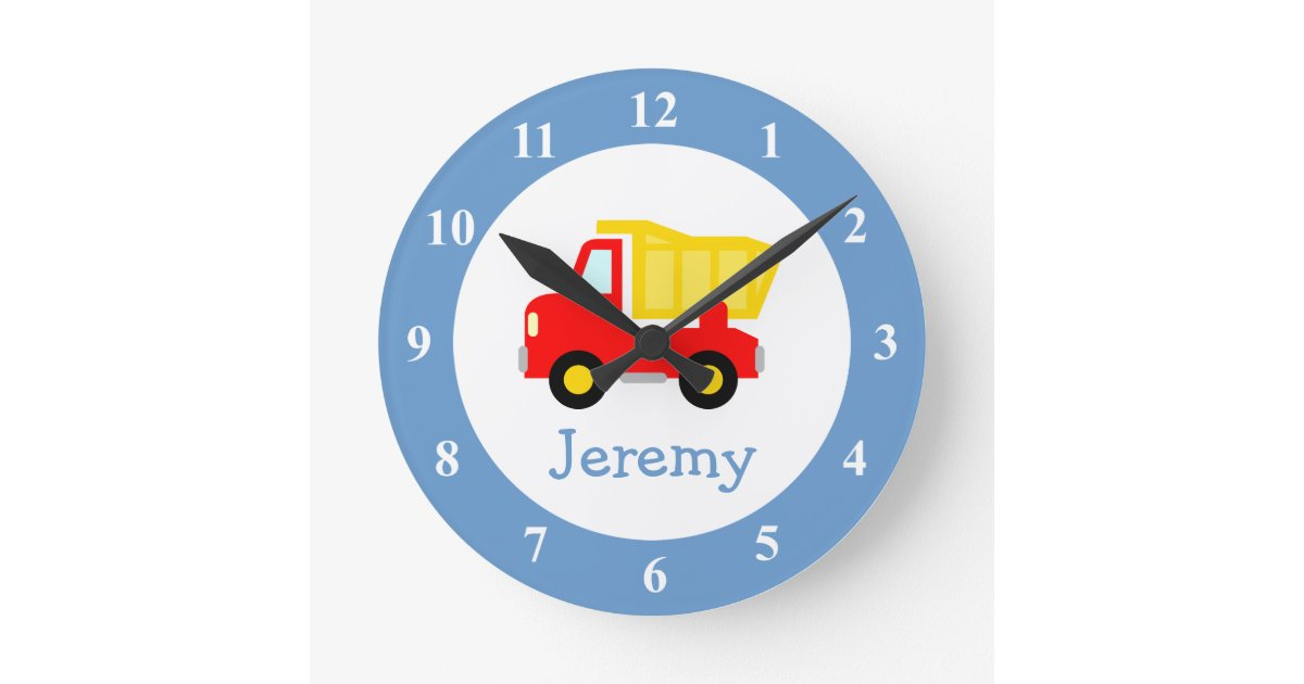 Toy Dump Truck Wall Clock For Kids Bedroom Nursery Zazzle