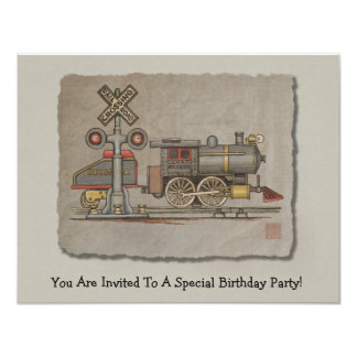 "Toy Electric Train 4.25"" X 5.5"" Invitation Card"