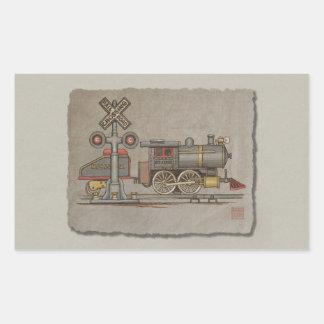 Toy Electric Train Rectangular Sticker