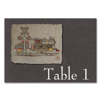 Toy Electric Train Table Cards