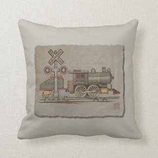 Toy Electric Train Throw Pillow