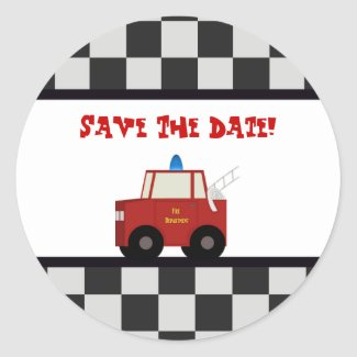 Toy Fire Truck Save The Date Stickers sticker