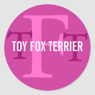 Toy Fox Terrier Breed Monogram Classic Round Sticker