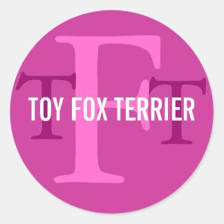 Toy Fox Terrier Breed Monogram Classic Round Sticker
