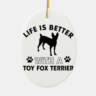 Toy Fox Terrier dog breed designs Christmas Tree Ornament