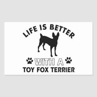 Toy Fox Terrier dog breed designs Rectangular Sticker