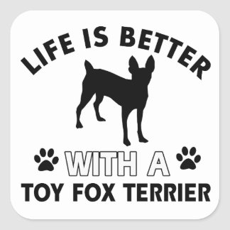 Toy Fox Terrier dog breed designs Square Sticker