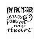 Toy Fox Terrier Dog Leaves Paw On My Heart Postcard