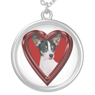 Toy Fox Terrier In Heart Necklace