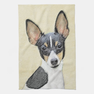 Toy Fox Terrier Painting - Cute Original Dog Art Hand Towel