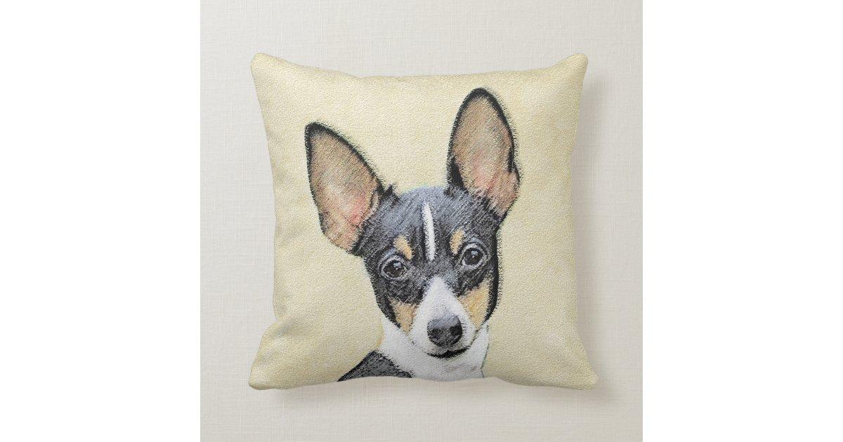 Toy Fox Terrier Painting Cute Original Dog Art Throw Pillow Zazzle Com
