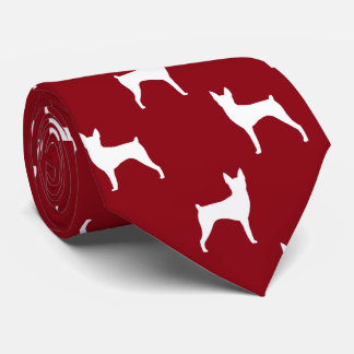 Toy Fox Terrier Silhouettes Pattern Red Tie