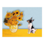Toy Fox Terrier - Sunflowers Postcard