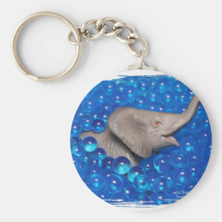 Toy grey elephant in blue bubbles key chains