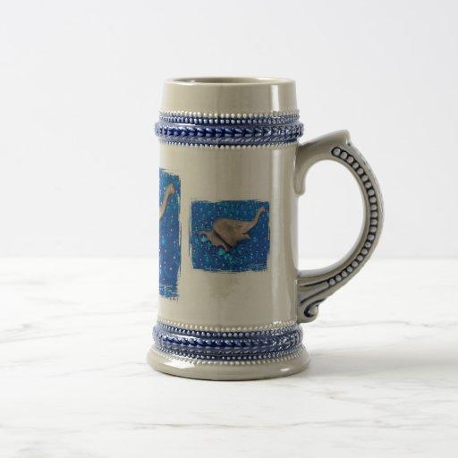 Toy grey elephant in blue bubbles mugs