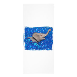 Toy grey elephant in blue bubbles rack card