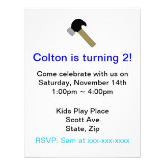 Toy Hammer Kids Birthday Party Invitation