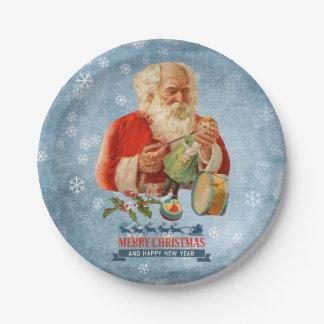 Toy Maker Santa Claus Paper Plate
