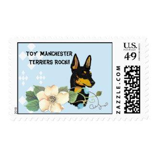 Toy Manchester Terrier - Blue Diamond Design Postage