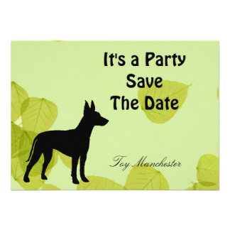 Toy Manchester Terrier Green Leaves Design Announcements