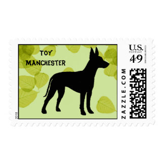 Toy Manchester Terrier ~ Green Leaves Design Postage