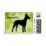 Toy Manchester Terrier ~ Green Leaves Design Stamps