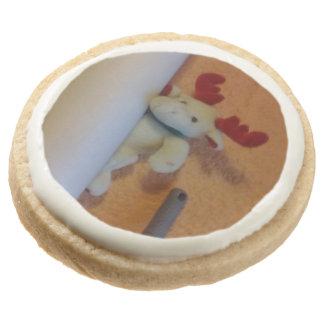 Toy moose round premium shortbread cookie