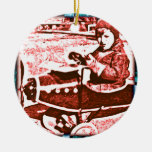 Toy Plane Double-Sided Ceramic Round Christmas Ornament