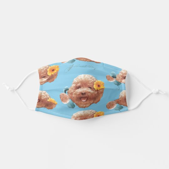 Toy Poodle Happy Face Adult Cloth Face Mask