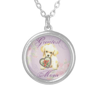 Toy Poodle Heart Mom Round Pendant Necklace