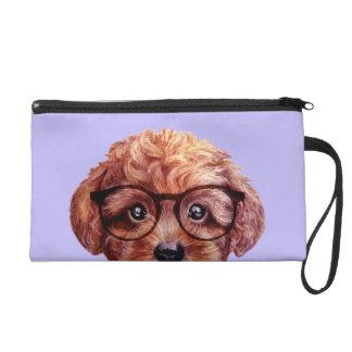 Toy poodle reddish brown wristlet purse