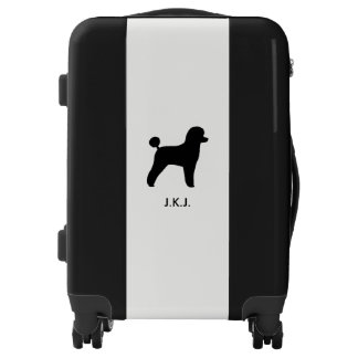 Toy Poodle Silhouette with Custom Text Luggage