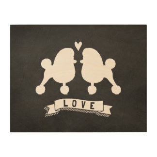 Toy Poodles Love - Dog Silhouettes w/ Heart Wood Canvases