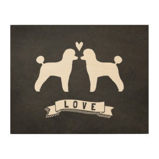 Toy Poodles Love - Dog Silhouettes w/ Heart Wood Canvas