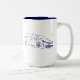 Toy Prius Plus 2013 Two-Tone Coffee Mug