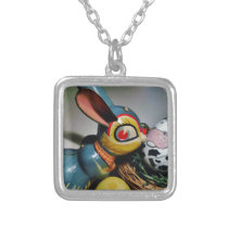 Toy Rabbit and  cow egg Silver Plated Necklace