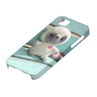 Toy racoon sitting on bench design iPhone SE/5/5s case