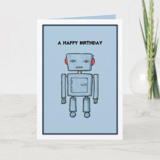 Toy Robot blue Birthday Card card