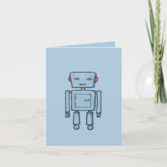 Toy Robot blue Note Card card