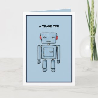 Toy Robot blue Thank You Card card