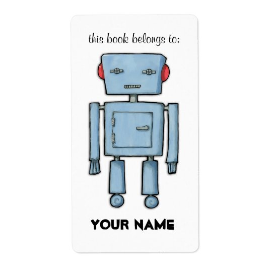 Toy Robot Bookplate Label