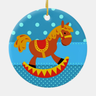 Toy Rocking Horse Red and Gold Double-Sided Ceramic Round Christmas Ornament