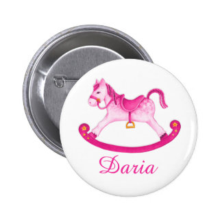 Toy rocking horse watercolor art name button