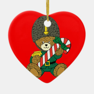 Toy Soldier Bear & Candy Cane Christmas Ornament
