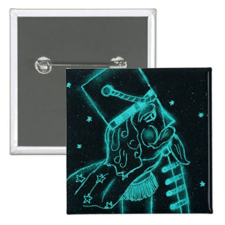 Toy Soldier in Black and Aqua 2 Inch Square Button