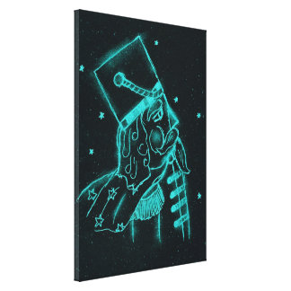 Toy Soldier in Black and Aqua Canvas Print